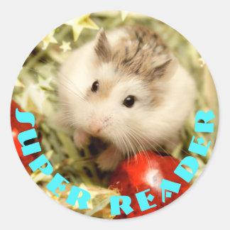 Hammyville - Cute Hamster Super Reader Classic Round Sticker