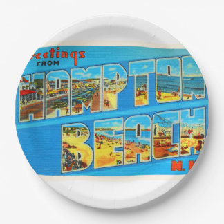 Hampton Beach New Hampshire NH Old Travel Souvenir 9 Inch Paper Plate