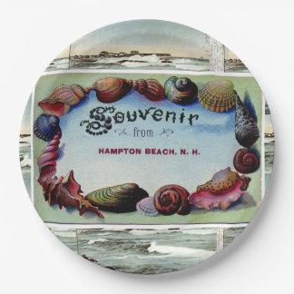 "Hampton Beach Vintage Postcard Plates 9 "" 9 Inch Paper Plate"