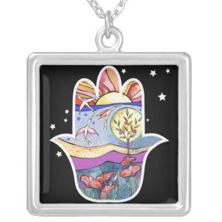 HAMSA BEAUTY Bat Mitzvah Invitation Silver Plated Necklace