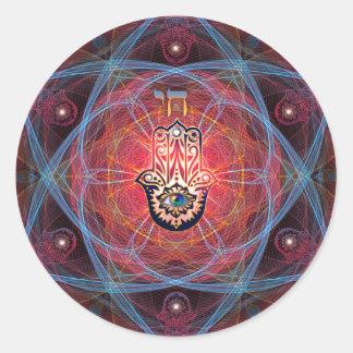 Hamsa - CHAI - Sacred Geometry Classic Round Sticker