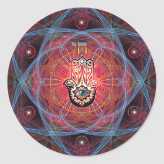 Hamsa - CHAI - Sacred Geometry Round Sticker