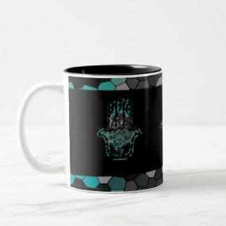 Hamsa Flower Life Two-Tone Coffee Mug