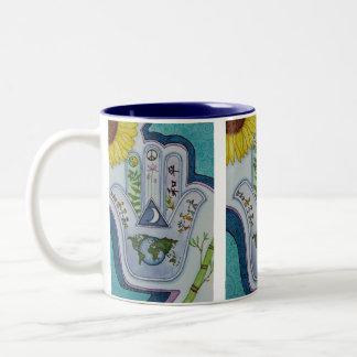 Hamsa for Peace Earth and Peoples Two-Tone Coffee Mug
