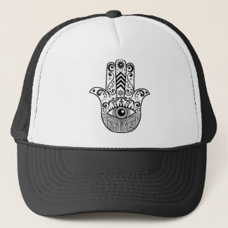 Hamsa Hand Black and White Trucker Hat