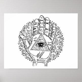 Hamsa Hand Evil Eye Adult Coloring Poster