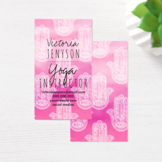 Hamsa hand floral lace watercolor yoga business card