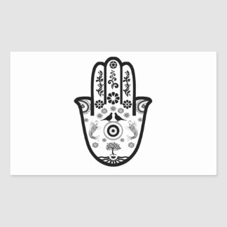 Hamsa Hand in Black/White Design Rectangle Sticker