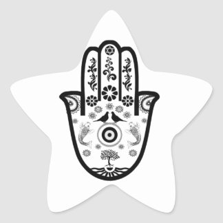Hamsa Hand in Black/White Design Star Sticker