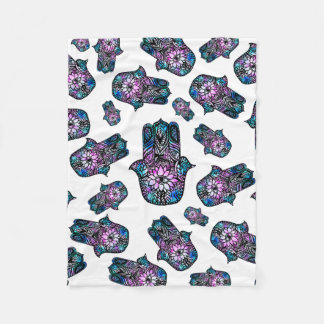 Hamsa hand of Fatima hand drawn floral watercolor Fleece Blanket