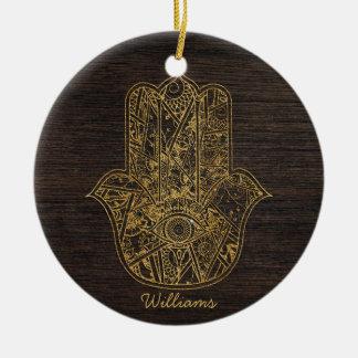 HAMSA Hand of Fatima symbol amulet design Round Ceramic Ornament