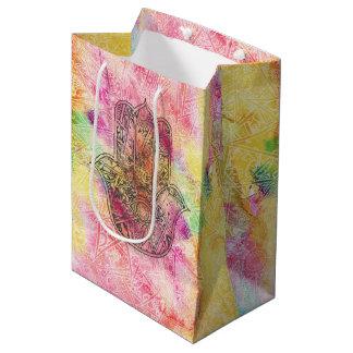 HAMSA Hand of Fatima symbol amulet Henna floral Medium Gift Bag