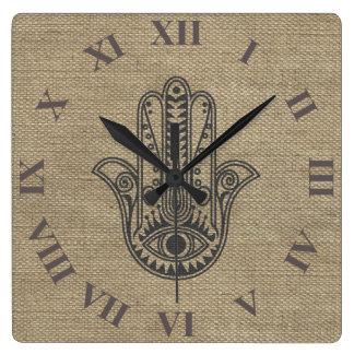 HAMSA Hand of Fatima symbol amulet Wall Clock