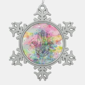 HAMSA Hand of Fatima symbol Pewter Snowflake Ornament
