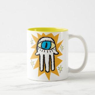 Hamsa Hand of God Gold Glow Two-Tone Coffee Mug