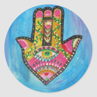 Hamsa Hand painting Round Sticker