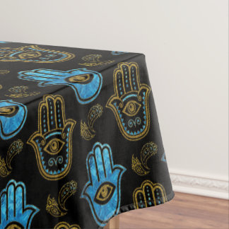 Hamsa Hand pattern - Gold and Blue glass Tablecloth