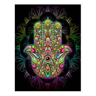 Hamsa Hand Psychedelic Art Postcard