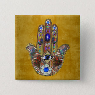 Hamsa Hearts Flowers Opal Art on Gold 2 Inch Square Button