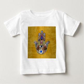 Hamsa Hearts Flowers Opal Art on Gold Baby T-Shirt