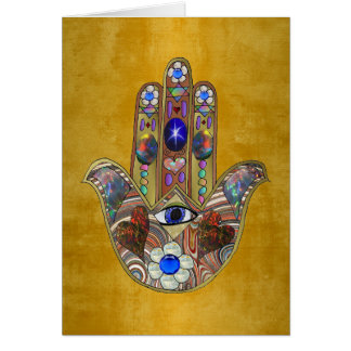 Hamsa Hearts Flowers Opal Art on Gold Card