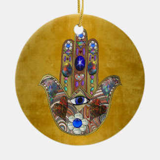 Hamsa Hearts Flowers Opal Art on Gold Ceramic Ornament
