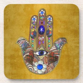 Hamsa Hearts Flowers Opal Art on Gold Coaster