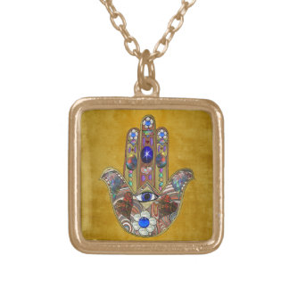 Hamsa Hearts Flowers Opal Art on Gold Gold Plated Necklace