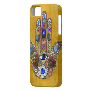 Hamsa Hearts Flowers Opal Art on Gold iPhone 5 Case