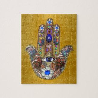 Hamsa Hearts Flowers Opal Art on Gold Jigsaw Puzzle