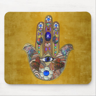 Hamsa Hearts Flowers Opal Art on Gold Mouse Pad