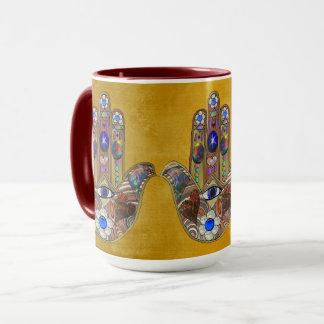 Hamsa Hearts Flowers Opal Art on Gold Mug