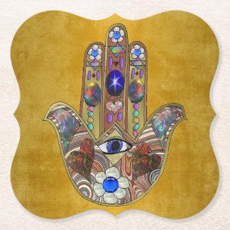 Hamsa Hearts Flowers Opal Art on Gold Paper Coaster