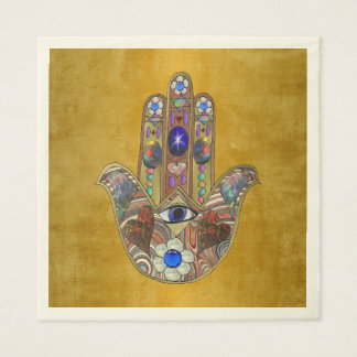 Hamsa Hearts Flowers Opal Art on Gold Paper Napkin