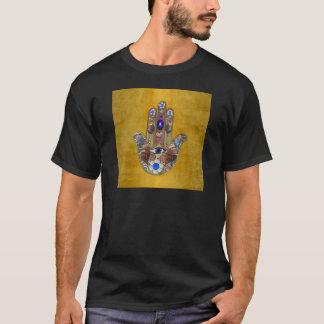 Hamsa Hearts Flowers Opal Art on Gold T-Shirt