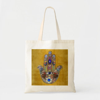 Hamsa Hearts Flowers Opal Art on Gold Tote Bag
