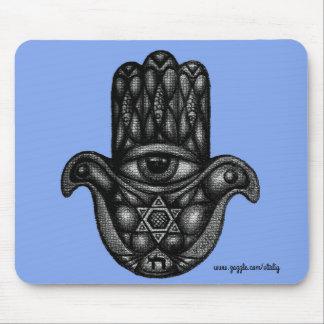 Hamsa Jewish hand ink pen drawing Mouse Pad