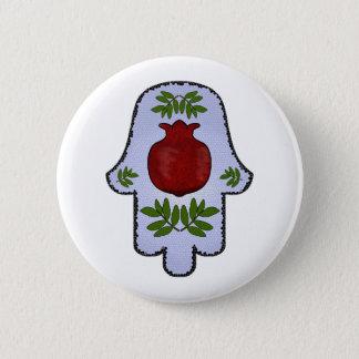 Hamsa, Pomegranate, Light Blue, Stained Glass Zazz 2 Inch Round Button