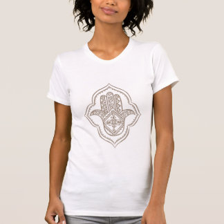 hamsa(taupe) white t-shirt
