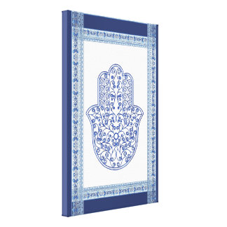 hamsa*tunis*morocco*henna*blue canvas print
