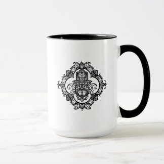 Hamsa With Ethnic Ornaments Doodle Mug