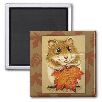 Hamster & Autumn Leaf - Magnet