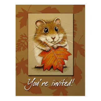 Hamster & Autumn Leaf  -  Postcard
