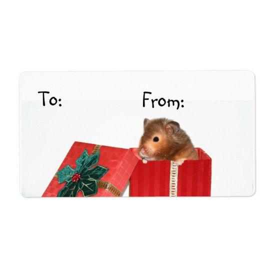 Hamster Christmas gift tag Shipping Label