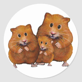 Hamster Family of Three: Cute: Color Pencil Classic Round Sticker