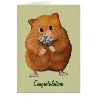 Hamster Holding Daisies: General Congratulations Card