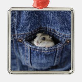 Hamster in pocket metal ornament