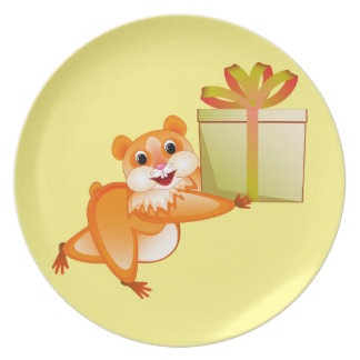 Hamster keeps the gift plate