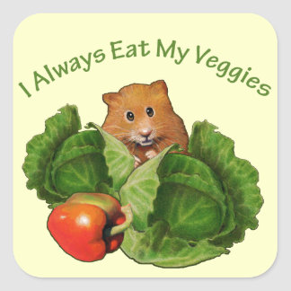 Hamster: Kids: I Always Eat My Veggies: Nutrition Square Sticker