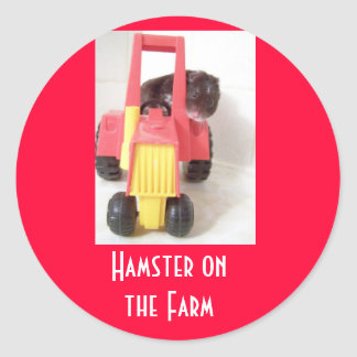 Hamster on the Farm Round Sticker